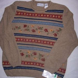 Alfred Dunner LG Country Harvest Tan/Multi.Sweater
